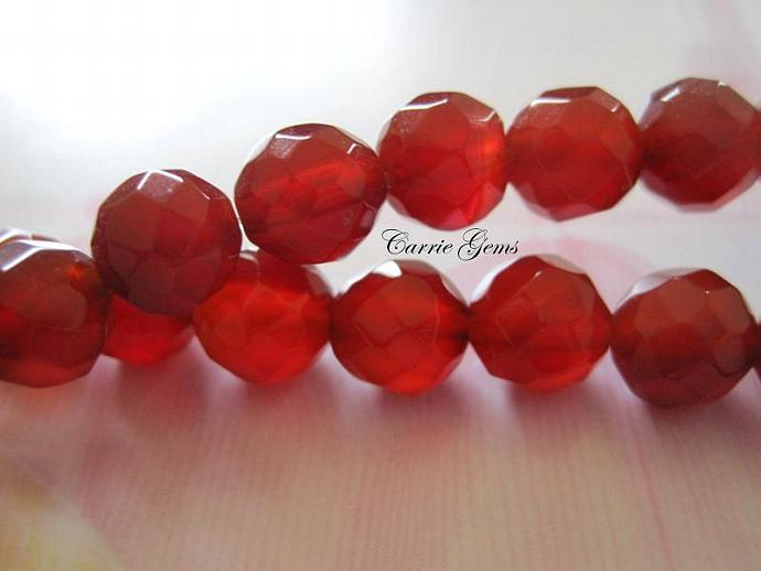 "16"" long (48 pieces) Carnelian Faceted Round 8mm Beads."