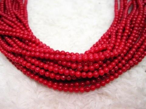 "16"" long Red Coral 3mm Round Beads"