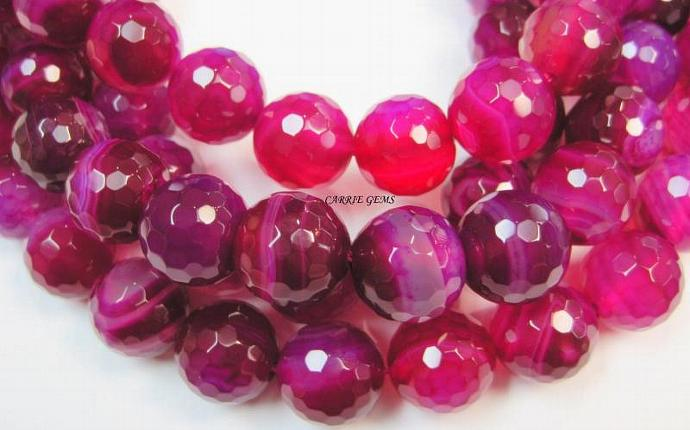 "Pink Agate Faceted Round 14mm, 8"" long"