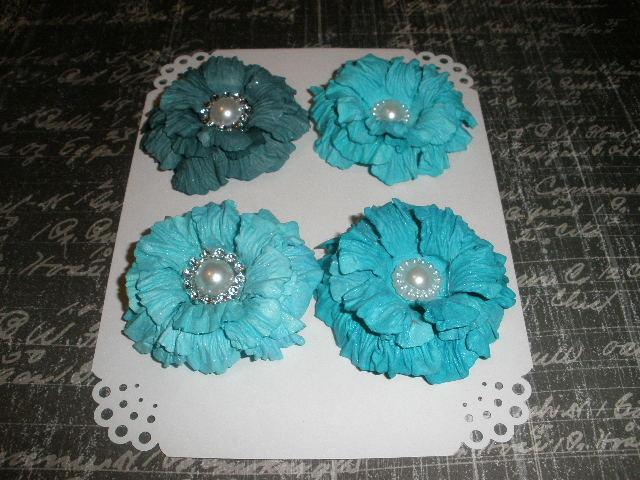 Teal Sweet Sugar Blossoms-Handmade Paper Flowers
