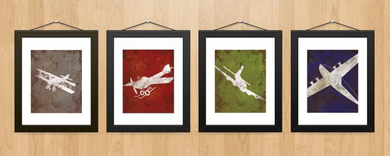 Vintage Aviation Wall Decor : Vintage airplane aviation print series wall by
