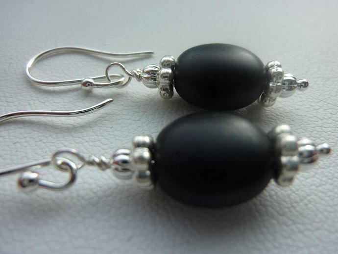 Silver  and Black Beaded Earrings, Espresso Bean Bead in Flat Black