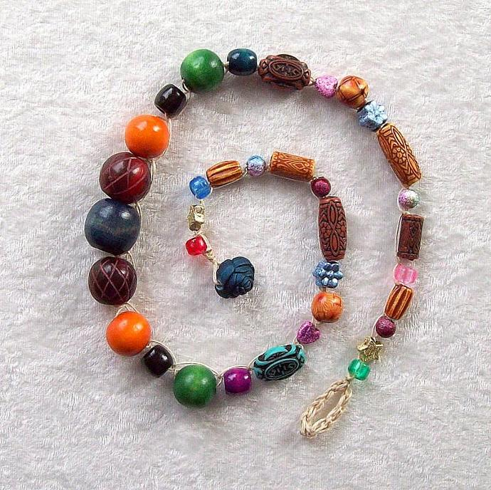 Necklace, Multicolor Beads crocheted on hemp