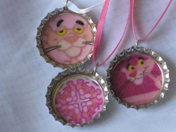Bottlecap Pendants - Set of 3 -  Pink Panther