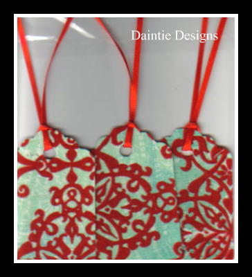Red Velvet on Teal Tags Set of 3