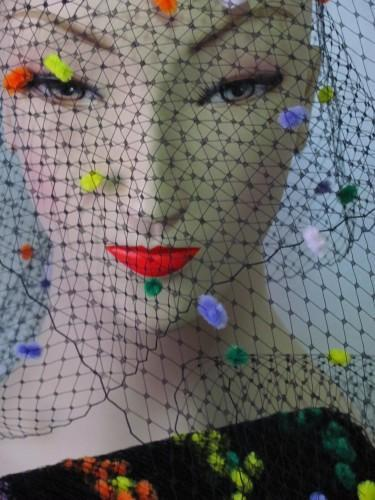 Black Multi Color Chenille Dot Millinery Hat Veiling Veil