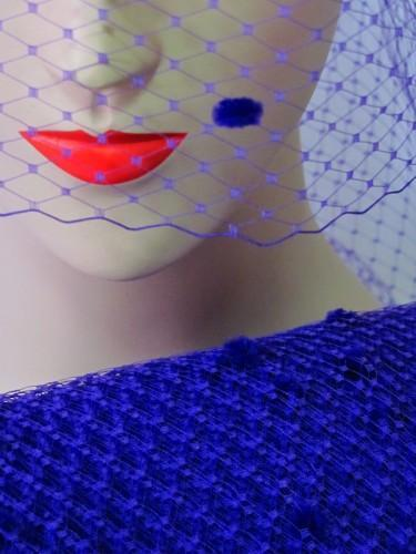 Purple Chenille Dot Millinery Hat Veiling