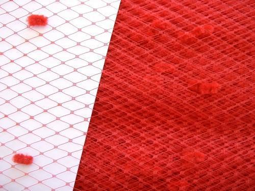 Red Chenille Dot Millinery Hat Veiling Net