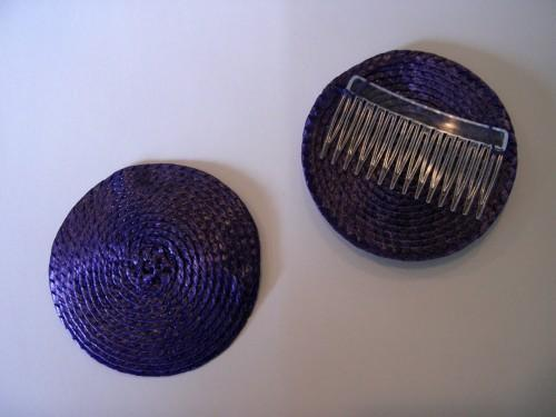 Purple Millinery Straw Fascinator Hat Base with Attached Comb