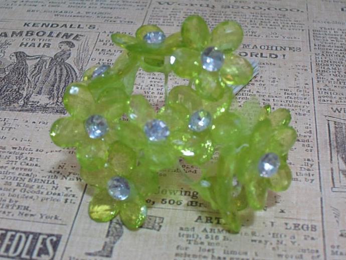 10 - Sm. Apple Green Acrylic Flower w/ Stem