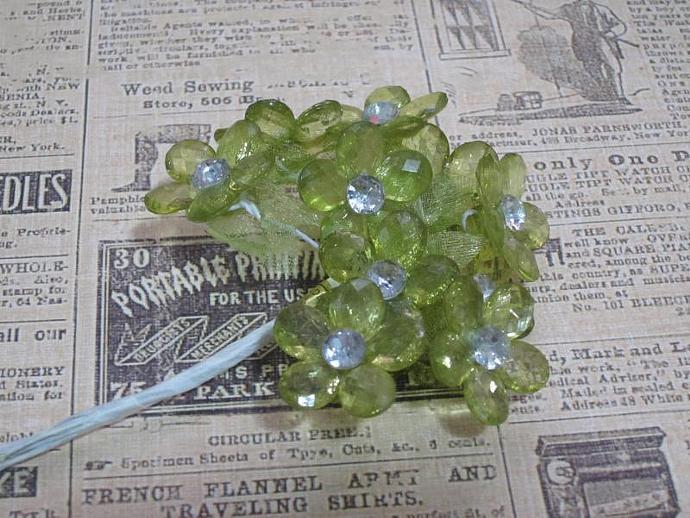 10 - Sm. Sage Acrylic Flower w/ Stem