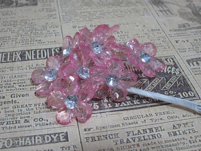 10 - Sm. Lt. Pink Acrylic Flower w/ Stem