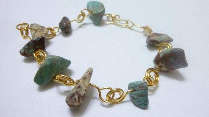 Handcrafted Turquoise Stone Bracelet, Links of  Gold and Natural Stone