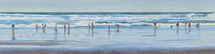 """""""Digging For Clams"""" Canvas Giclee Print by Carol Thompson"""