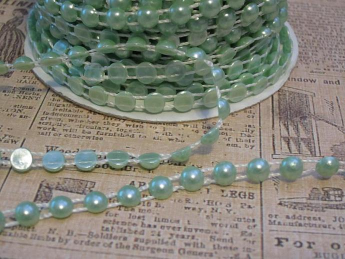1yd - Lt. Green Flat Back Pearl Trim (6mm)