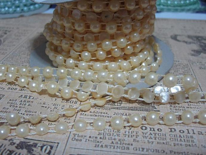 1yd - Cream Flat Back Pearl Trim (6mm)