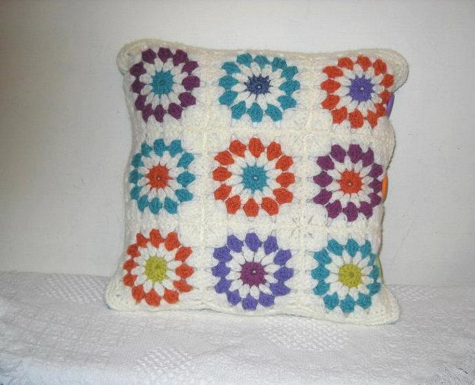 Crocheted Bright Colors Flower Power Pillow Cover