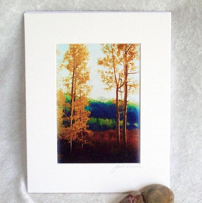 Faded Aspens Photoprint, 5x7 print matted to  8x10 inches overall