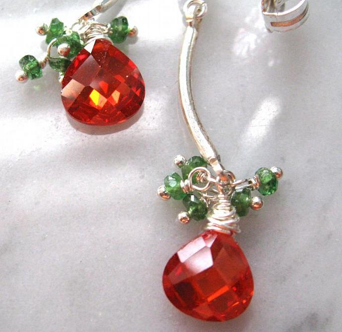 Emerald and Fire Orange crystal post earrings, sterling silver dangle, heart