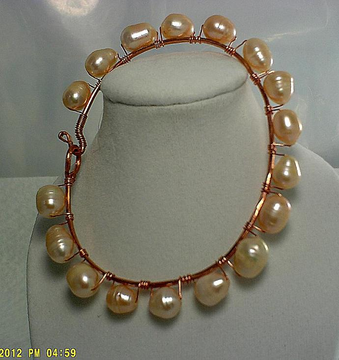 Peach Freshwater Pearls and Copper Bangle-Item # 0125