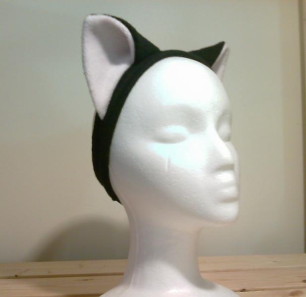 Black/white Cat EARS headband KITTY CAT cosplay