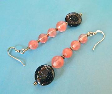 Rose  quartz  and  blue  goldstone  dangle  earrings