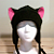 BLACK / PINK KITTY CAT AVIATOR earflap fleece Hat