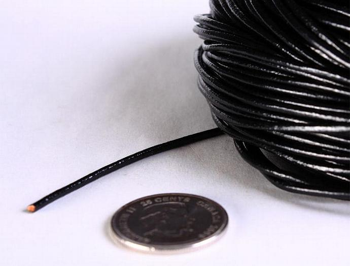2mm Black cowhide round leather cord 10 feet (593)