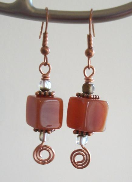 Copper and Fire Agate Dangle Earrings with Hand Hammered Spirals