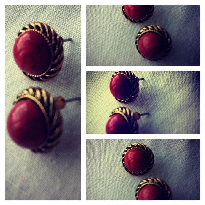 Vintage-style red and gold earrings