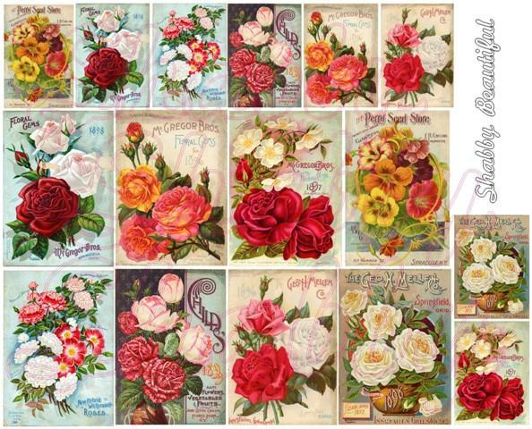 Shabby chic seed catalog DIGITAL collage sheet DC2 Bright