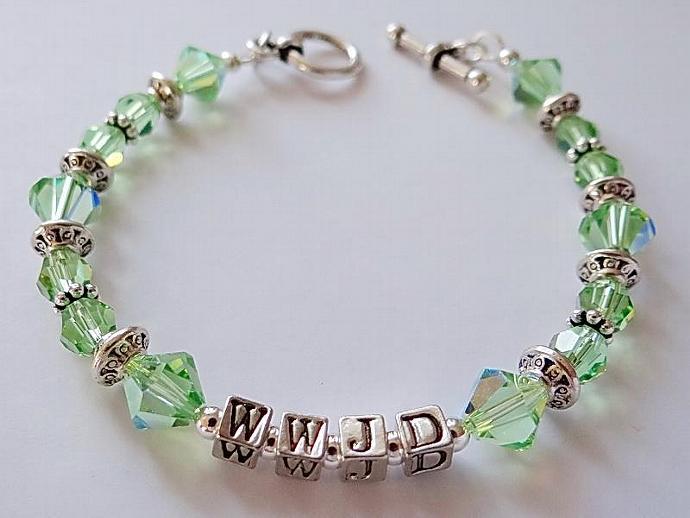 W.W.J.D. Swarovski Bracelet Peridot