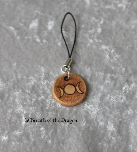 Small wooden charm ~ Triple Moon