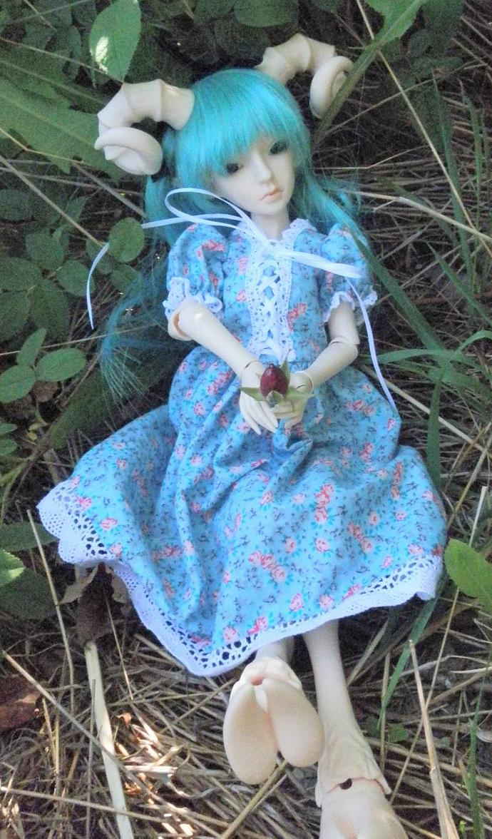 blue with pink roses MSD sized bjd doll dress