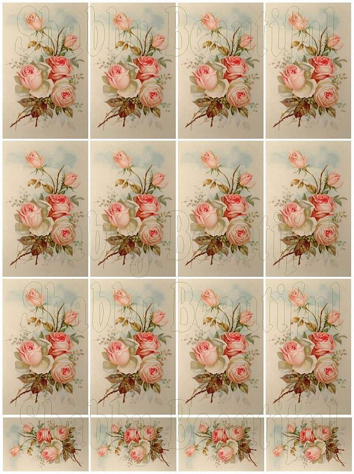Shabby chic roses digital collage sheets for scrapbook and cards DC11