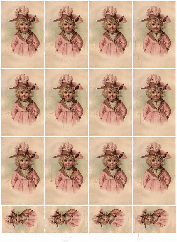 Shabby chic pretty girl in pink digital collage sheets for scrapbook and cards
