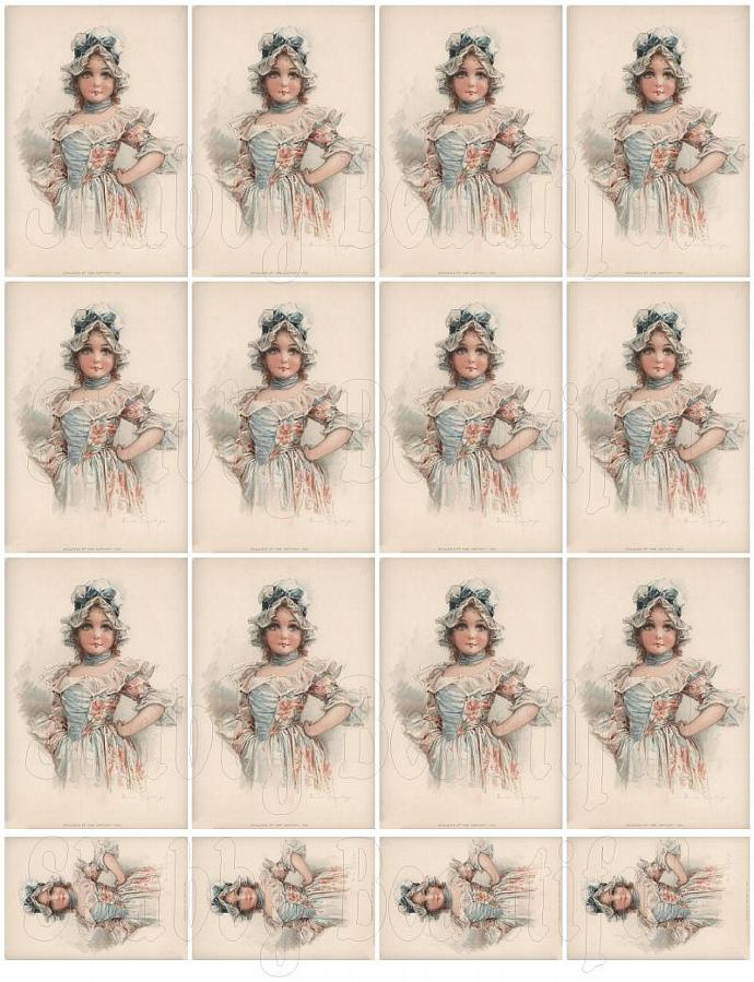 Shabby chic pretty girl in blue digital collage sheets for scrapbook and cards