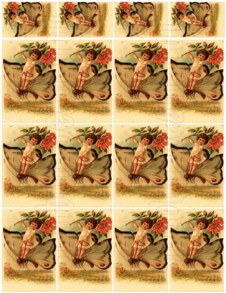 Shabby chic  Butterfly Fairy digital collage sheets for scrapbook and cards DC35
