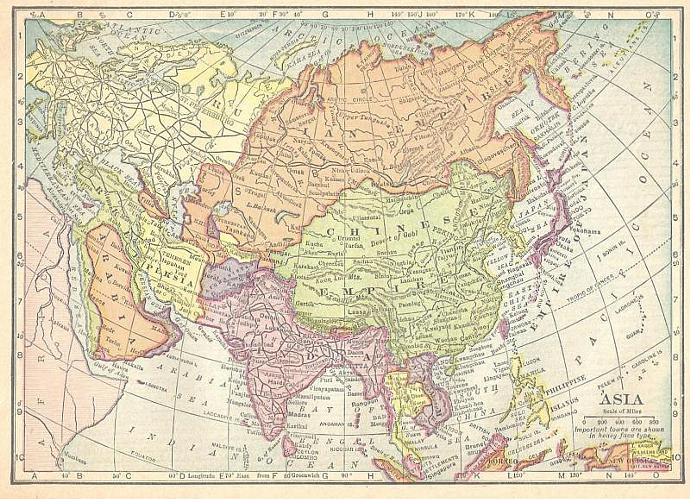 1909 Pre World War I Map Asia or British Isles