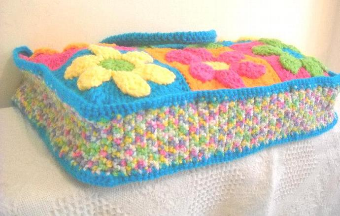 Crocheted Flower Power Tote Bag in Pink, Green, Orange, Yellow, and Blue (made