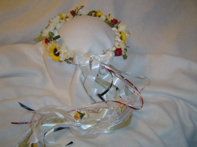 Leo's Love Silk Flower Head Wreath w/Sunflowers & Crystals /Renaissance /Wedding