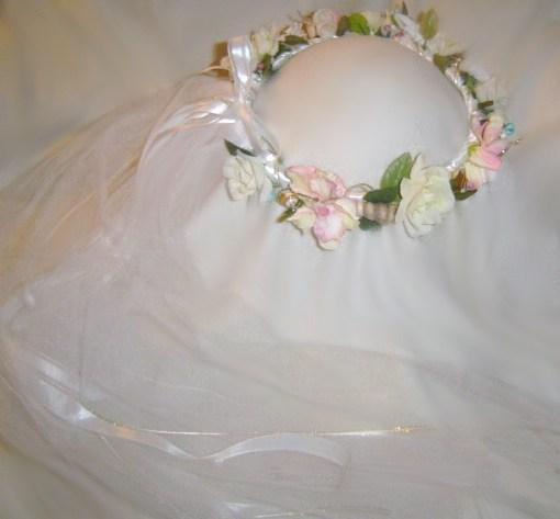 Laurie, Beach Wedding  Head Wreath with veil Soft light colors mix with natural