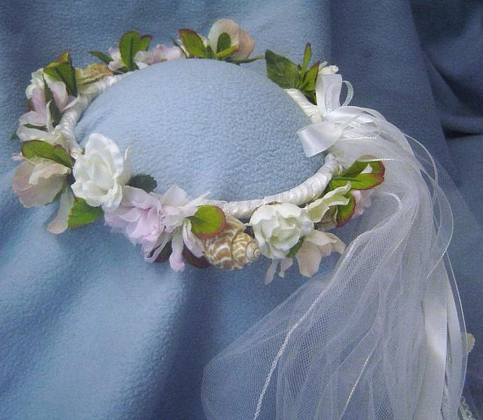 Cassandra Beach Wedding Blue / White / Head Wreath w/ veil, Natural sea shells