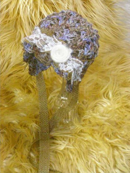 SALE Newborn Crochet Rustic Bonnet with Burlap and Lace Trim