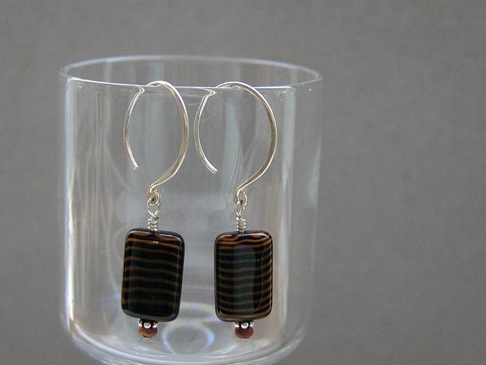 Brown/Black Glass Earrings SOLD