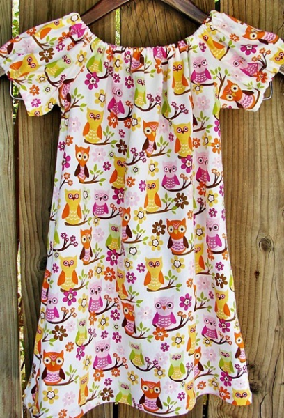 Hoot hoot...Owls handmade peasant dress for girls