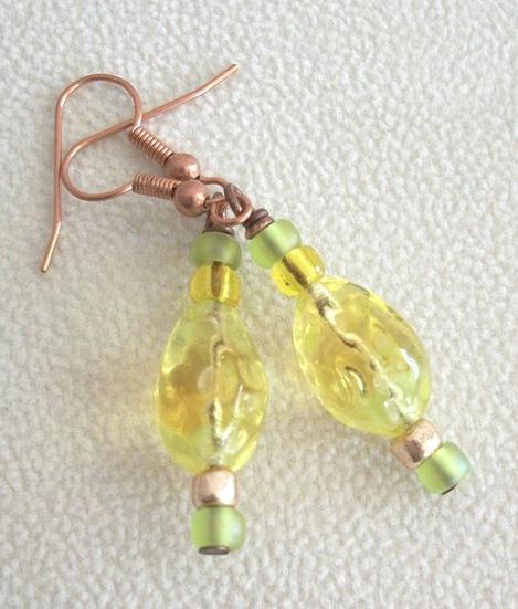 OOAK Czech Firepolish Copper Dangle Earrings in Yellow