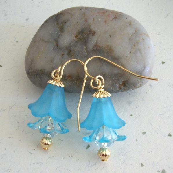 Lucite Light Blue Handmade Flower Dangle Earrings