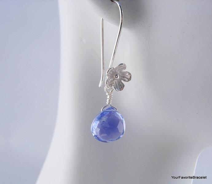Lilac Quartz Briolette Sterling Silver Flower Dangle Earrings