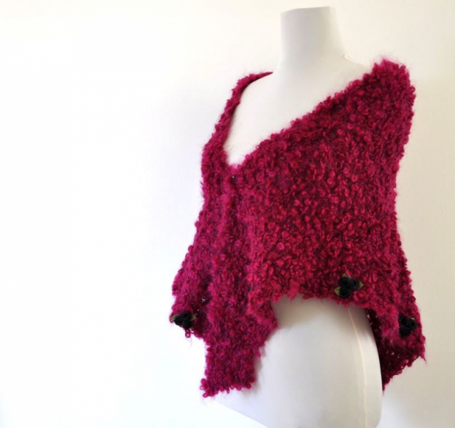 Plum Warm and Cozy Triangle Mohair Shawl